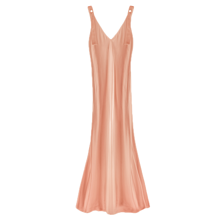 Silk Slip Dress with Pearls, Blush