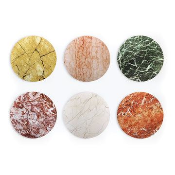 Stone Marble Coasters, Set of Six