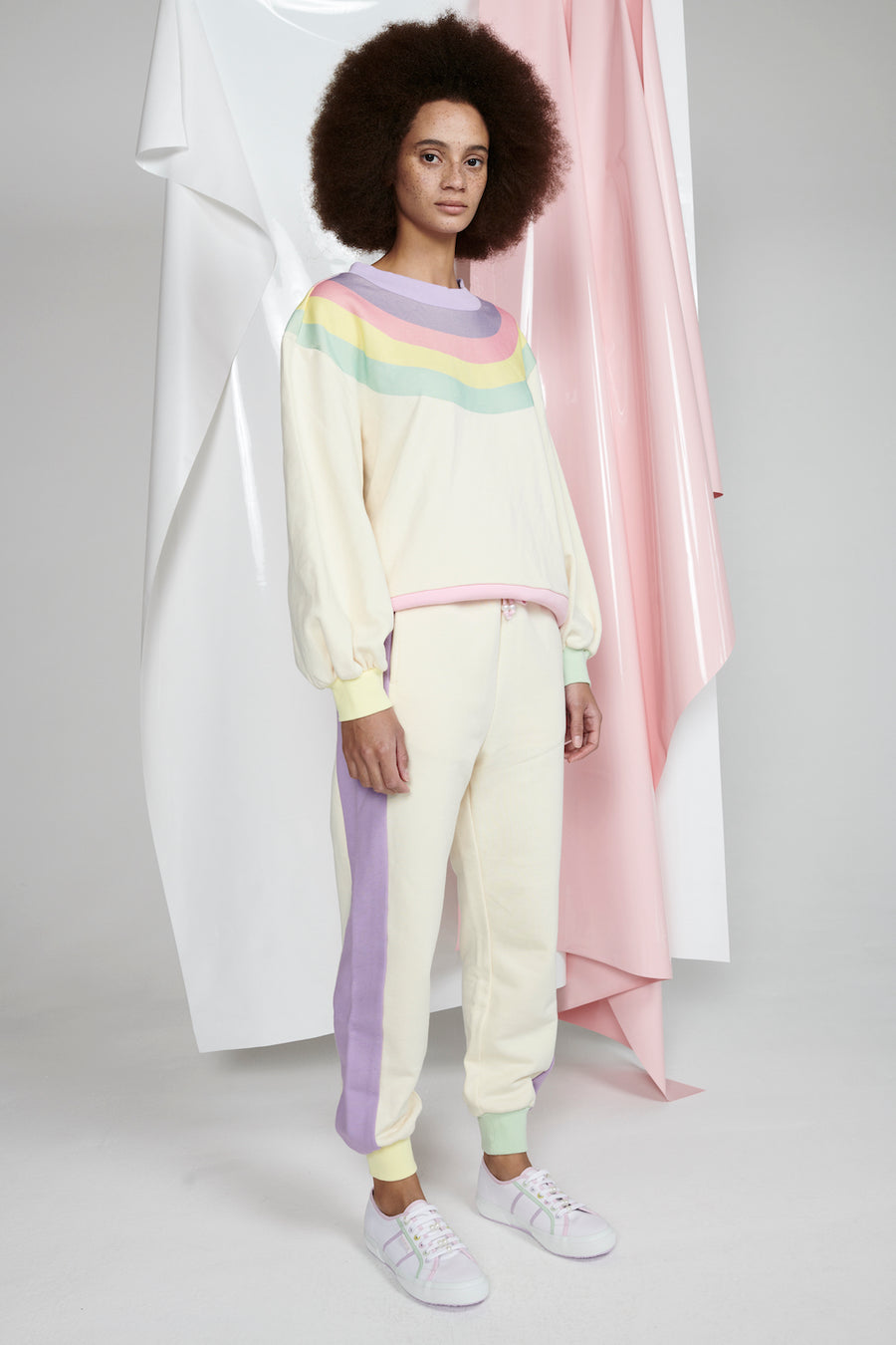 Nettie Sweatshirt, Rainbow Cream