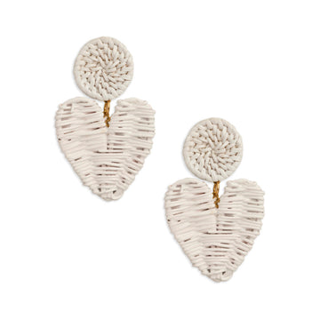 Rattan High Gloss Heart Drop Earring, White
