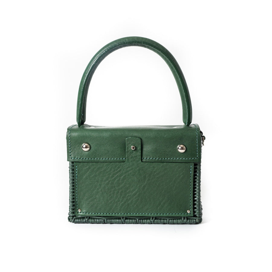 Straw Top-Handle Bag, Green