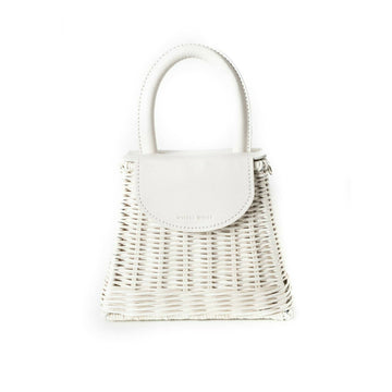 Straw Top Handle Bag, White