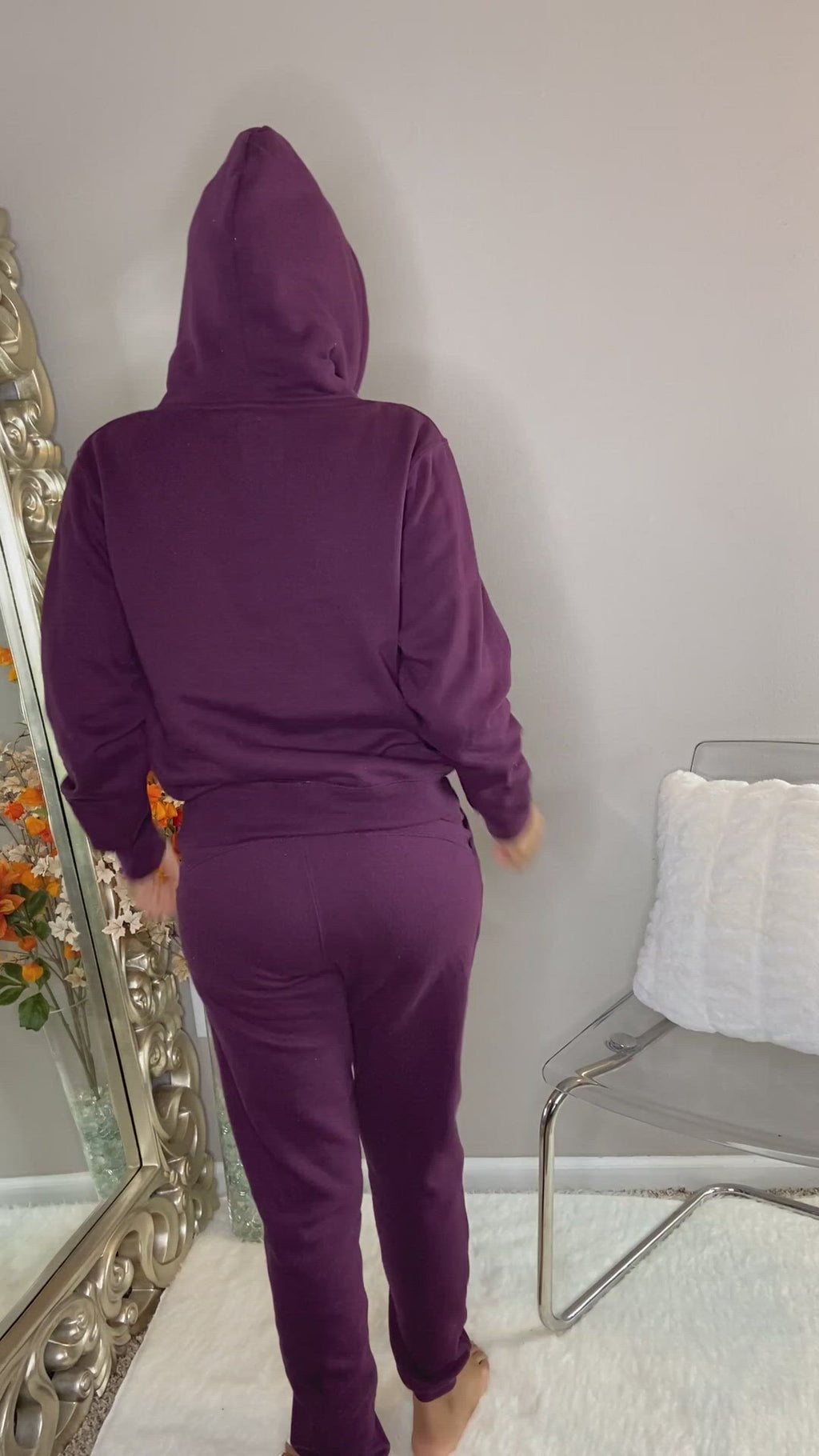 classic jogger pants purple with side pockets unisex detroit online womens boutique