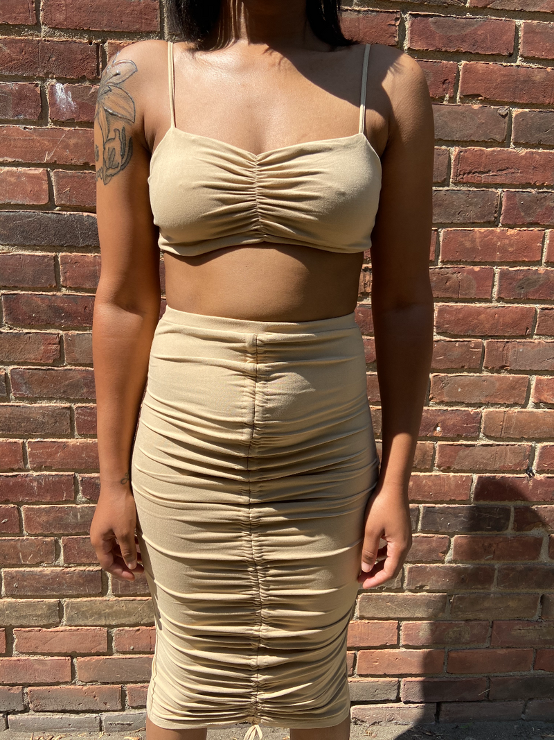 two piece brown taupe adjustable ruched front with stretch detroit black owned boutique