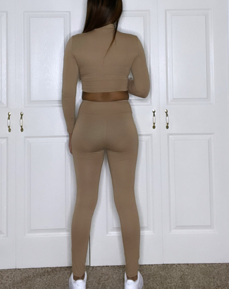 lucky label brand clothing two piece set tan brown nude detroit online boutique long sleeve top and legging bottoms