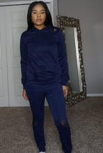 Load image into Gallery viewer, navy slim sweat jogger with tie and hoodie distress rips