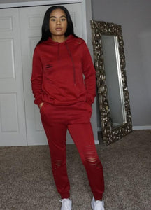 red slim sweat jogger with tie and hoodie distress rips