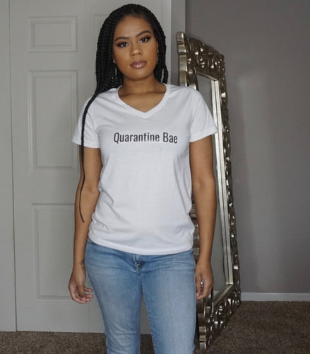 Quarantine Bae Baby t shirt meme quotes white v neck womens