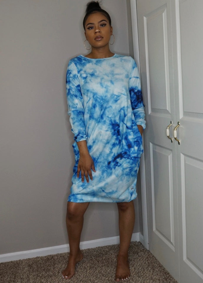 blue tie dye long sleeve oversized dress mina monroe