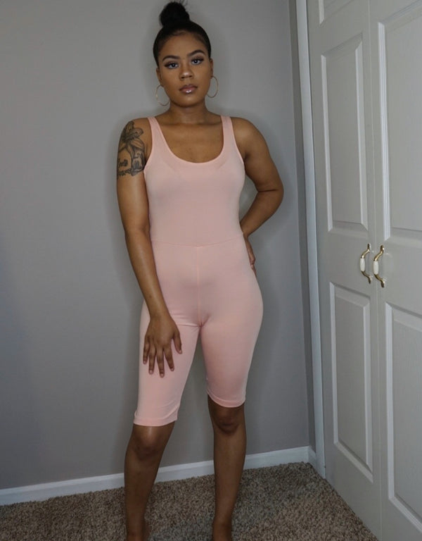 womens fitness pink peach knee length romper onesie