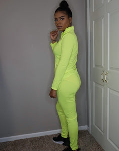 womens neon green zip up fitness track suit jogger two piece set