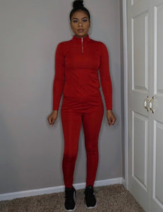 womens red zip up fitness track suit jogger two piece set