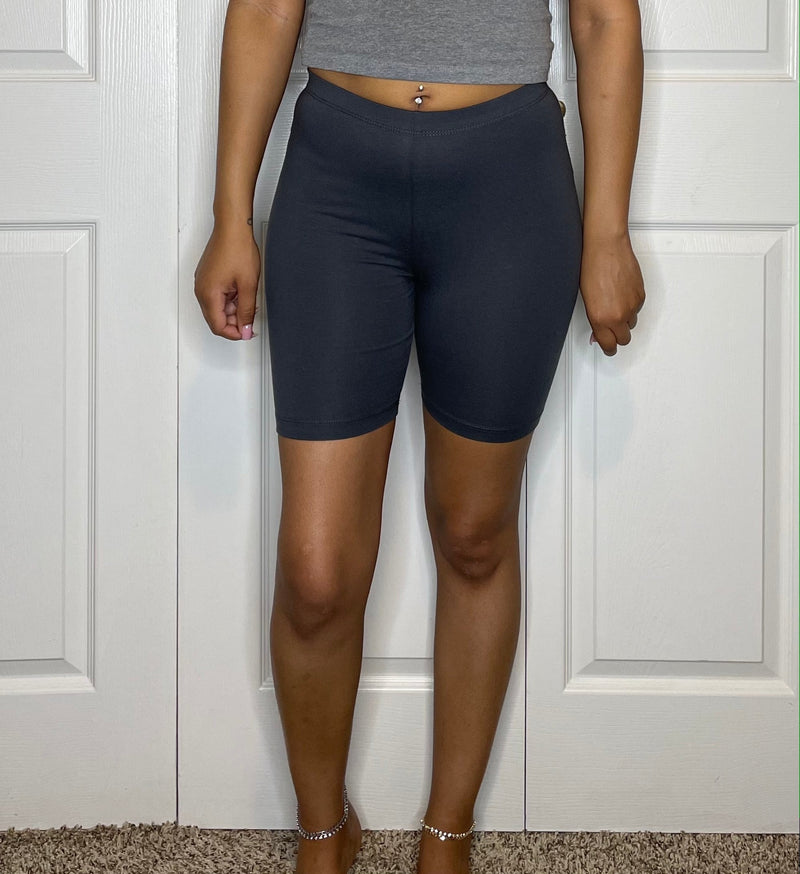 grey gray basic biker shorts above knee detroit womens online boutique