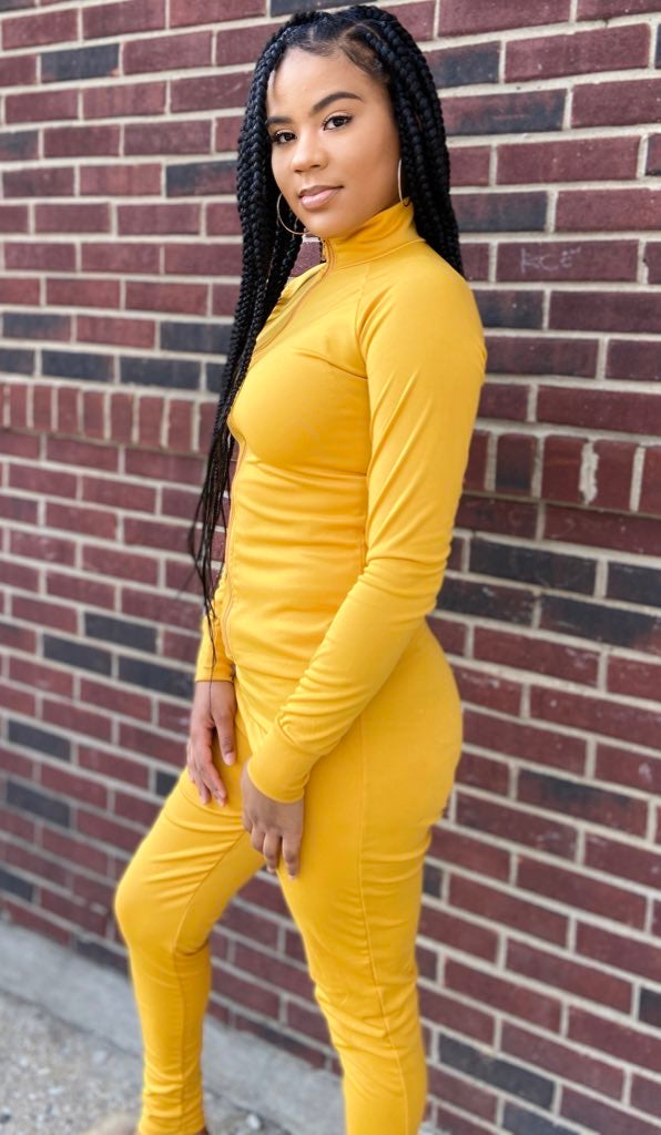 womens Yellow fitted workout active joggers boutique 2 piece