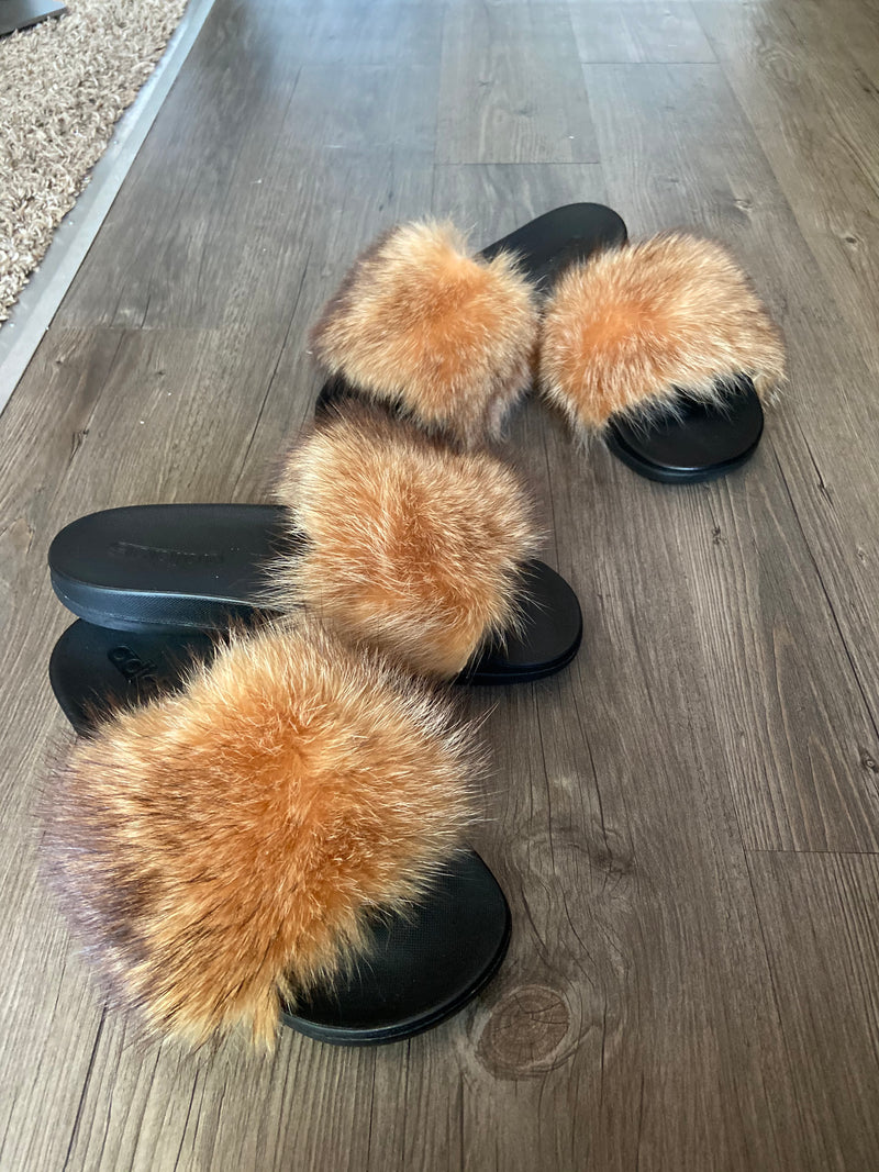 100% raccoon sunset fur slides handmade summer spring sandal slides detroit black owned boutique shoetique