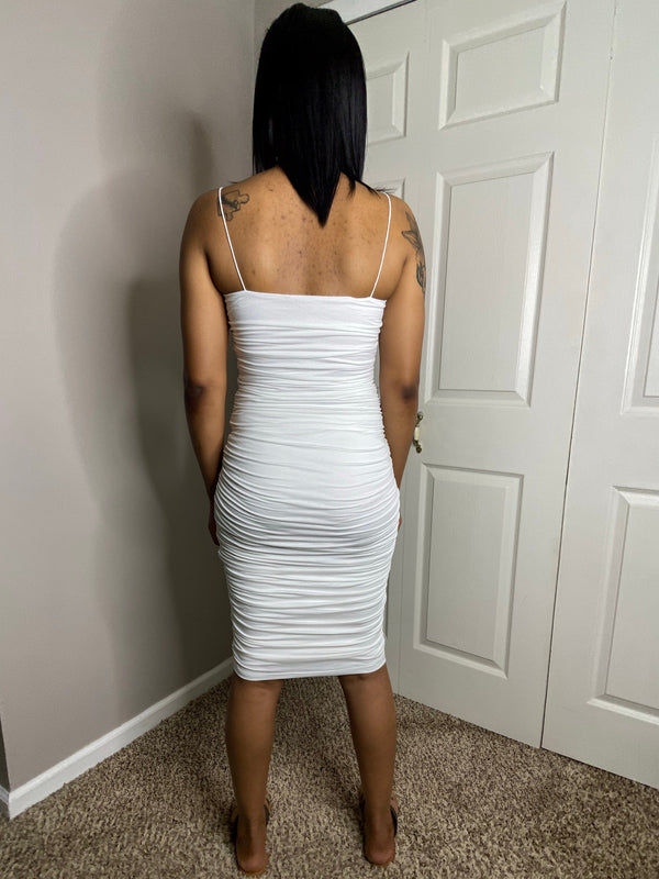 ivory off white ruching bodycon midi dress detroit black owned boutique