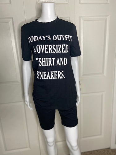 womens black today's outfit a oversized t-shirt and sneakers two piece biker set