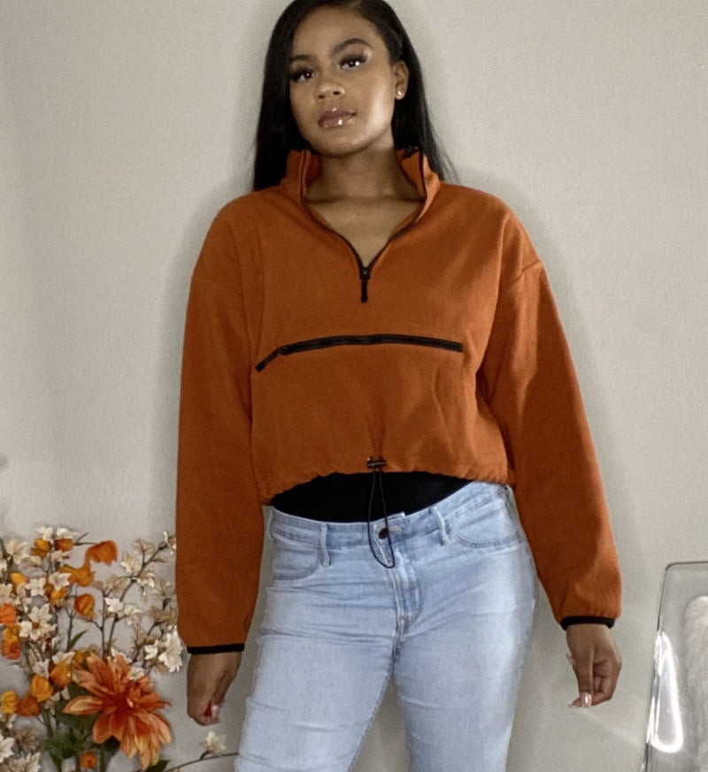 Burnt orange womens pull over crop zip up hoodie detroit womens online boutique