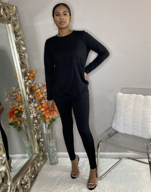 black long sleeve legging set with pocket detroit online womens boutique