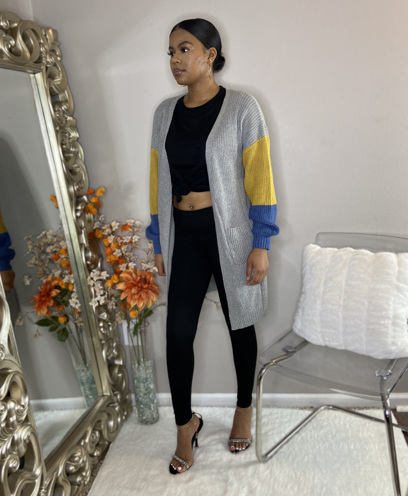 black long sleeve legging set with pocket detroit online womens boutique grey cardigan with colorful sleeves and pockets