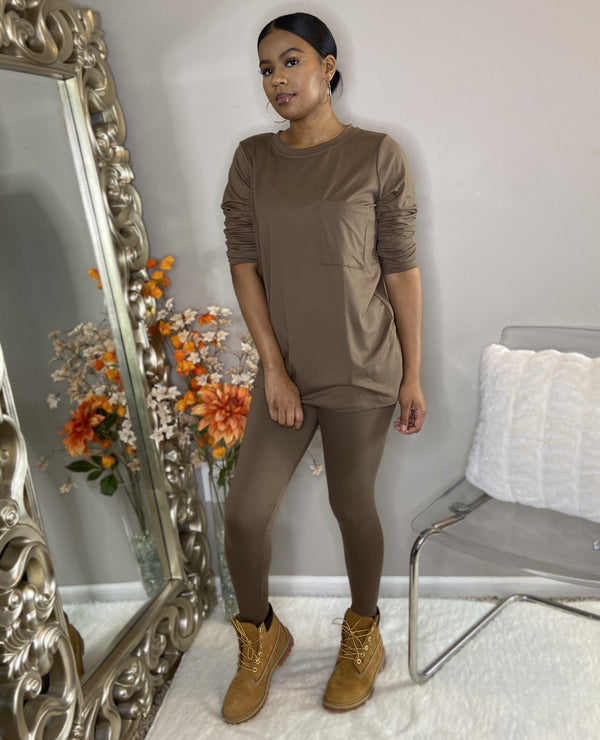 tan mocha brown long sleeve legging set with pocket detroit online womens boutique