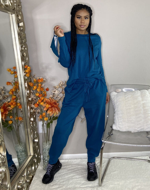 crewneck sweater shirt drawstring jogger pants matching set with face mask  teal blue cotton online detroit womens boutique