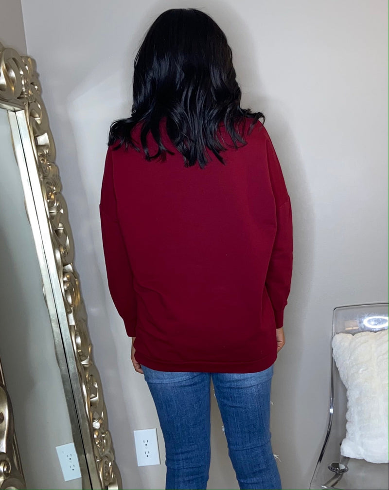 CoCo Chanel inspired oversized sweatshirt. Long sleeve stylish burgundy pink shirt. Detroit online boutique. Date night shirt
