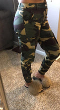 Load image into Gallery viewer, womens dark green military camouflage Army ankle pants outfit fall wardrobe with belt