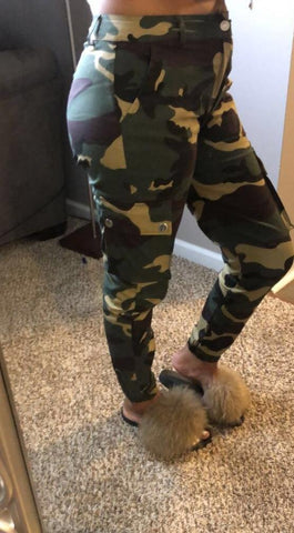 dark green military camouflage pants outfit