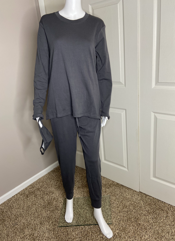 crewneck sweater shirt drawstring jogger pants matching set with face mask dark ash grey gray cotton online detroit womens boutique