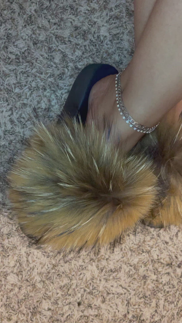 brown big extra fluffy fur raccoon slides detroit online womens shoe boutique shoetique black female owned