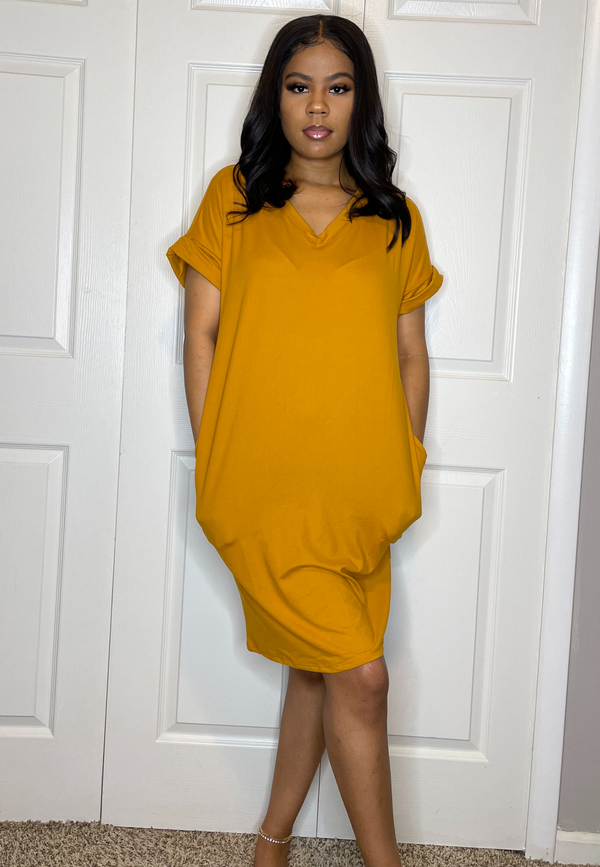 short sleeve t shirt oversized dress with pockets mustard yellow detroit womens online boutique
