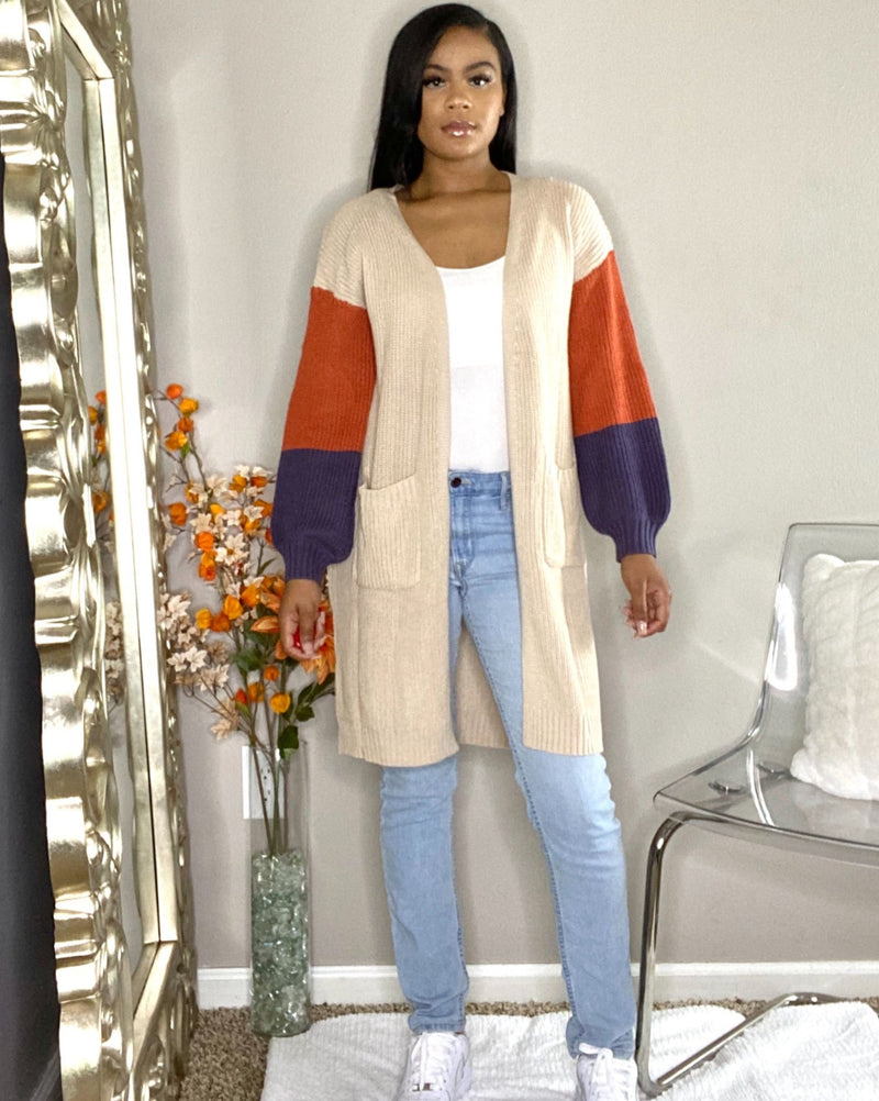cardigan with pocket oversized patch/block sleeves detroit online boutique