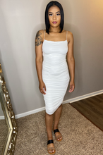 Load image into Gallery viewer, ivory off white ruching bodycon midi dress detroit black owned boutique