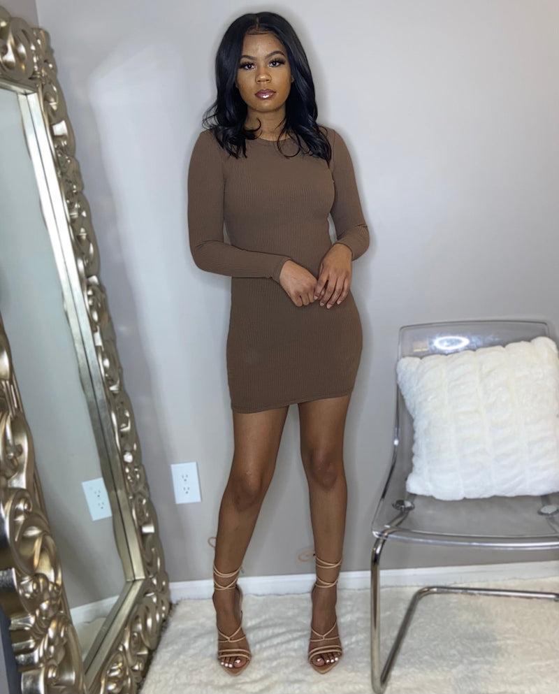 mini midi long sleeve dress brown, red, black. Ribbed knit material has stretch. Detroit online womens boutique. Nightout, going out, club, daytime dress. black owned boutique