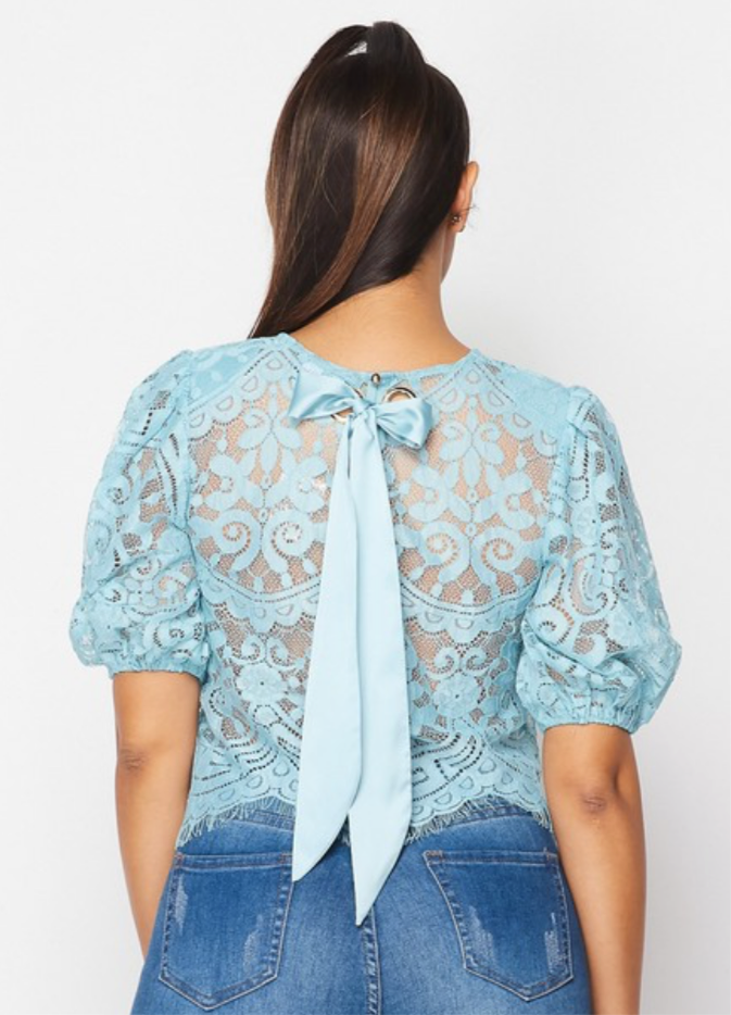 baby blue lace top with bow on back detroit online womens boutique cute blouse mesh top