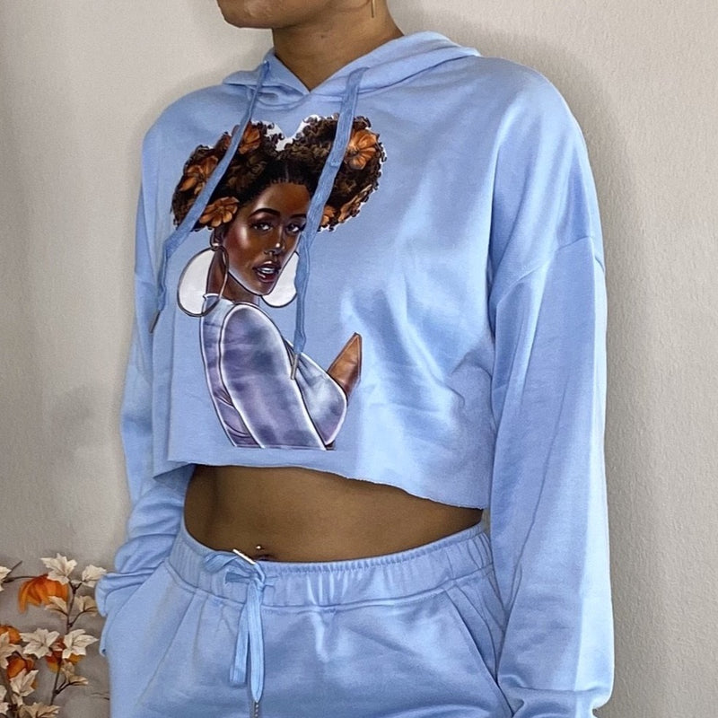 black girl magic 2 piece matching set with hood baby blue detroit online womens boutique