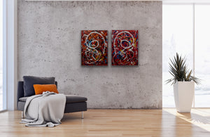 """Juxtaposed Action Recalibrated"", Acrylic on Canvas, 36x24, Diptych"