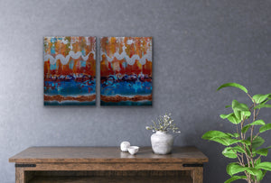 """Shimmering Motion Fractionated"", Mixed Media on Acrylic, 32x20, Diptych"