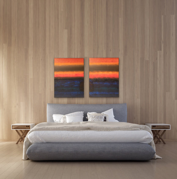 """Sunset on Jupiter"", Acrylic on Canvas, 24x30/48x30, Diptych"