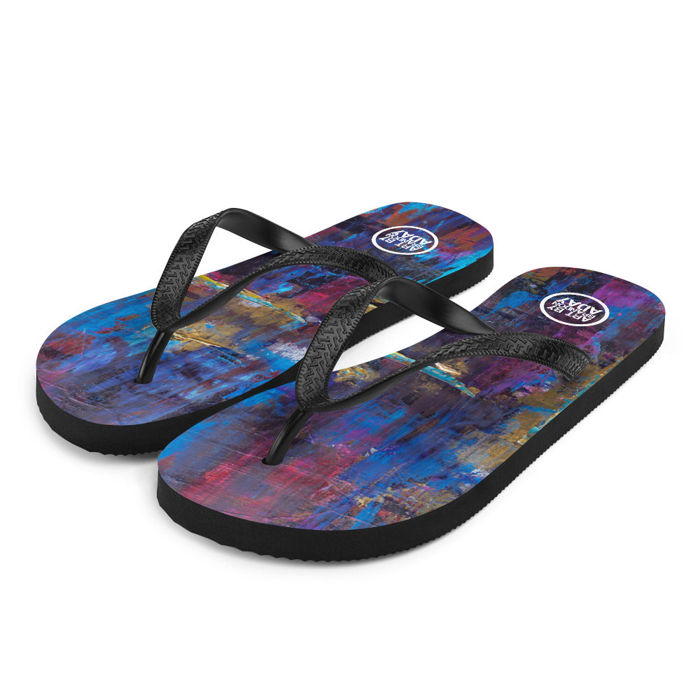 """Disjointed Brushstrokes Rearranged"" Flip-Flops"
