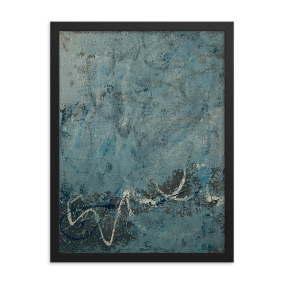 """Blue Concrete Abstract #2"" Framed poster"