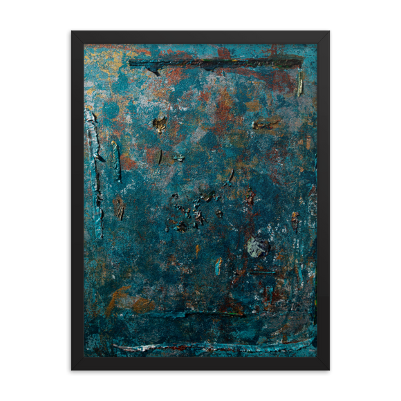 """Fragment of a Rusted Interior Magnified"" Framed Poster"