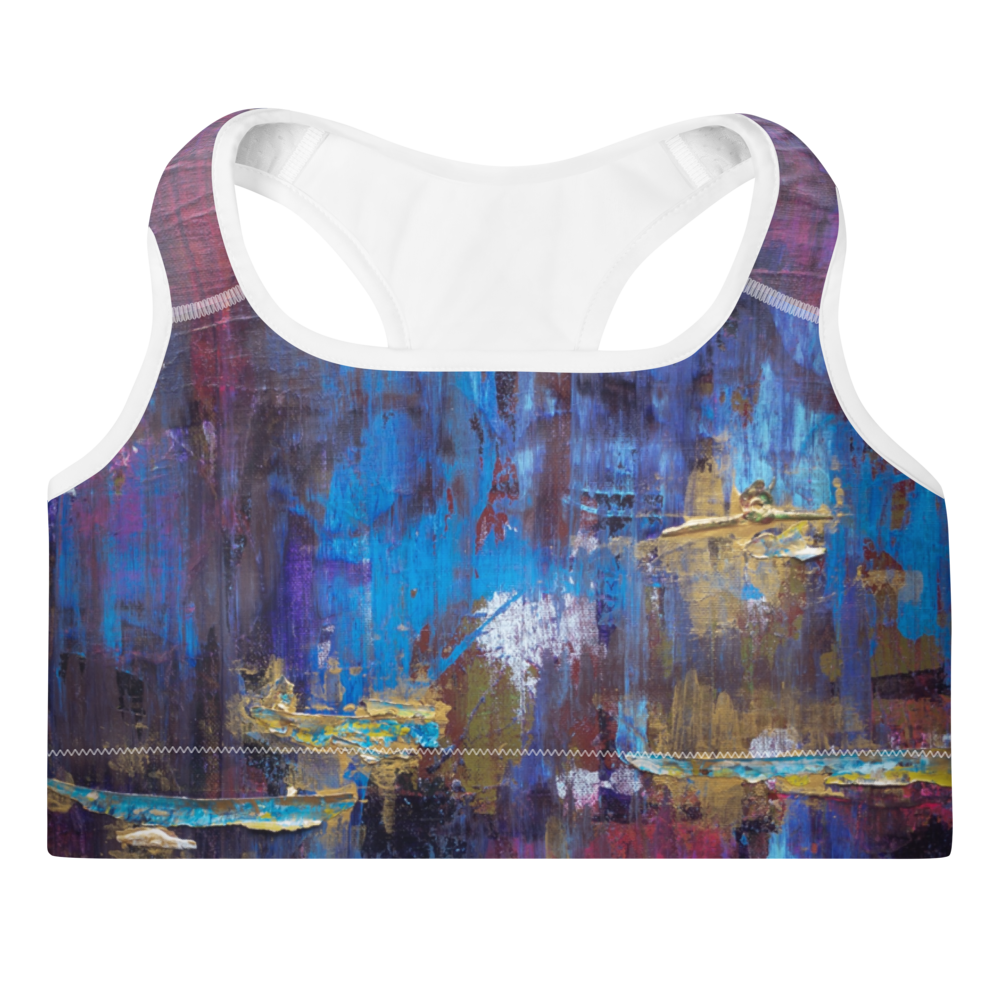"""Disjointed Brushstrokes Rearranged"" Padded Sports Bra"