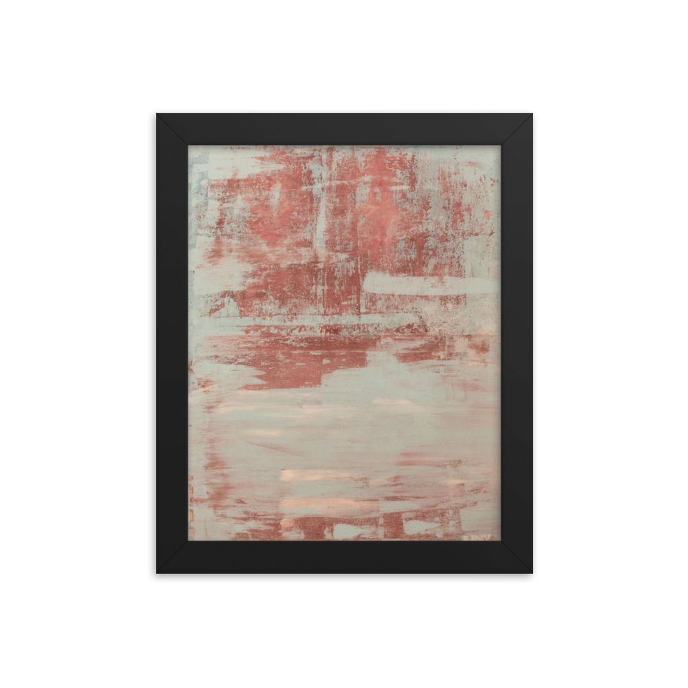 """Red & Blue Concrete Abstract #1"" Framed Poster"