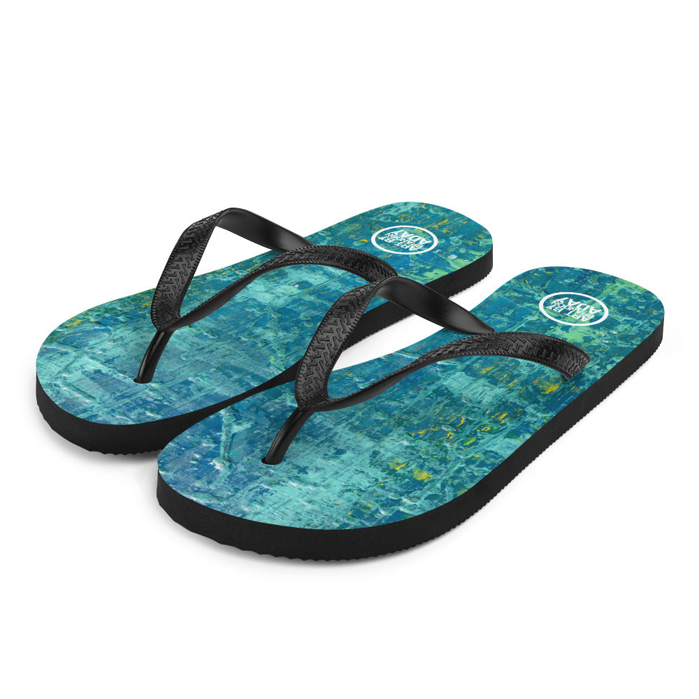 """Aerial View of an Emerald Seascape"" Flip-Flops"