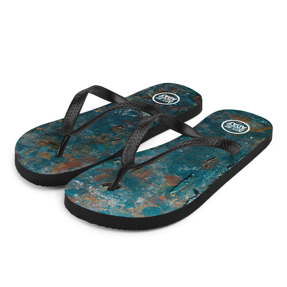 """Fragment of a Rusted Interior Magnified"" Flip-Flops"