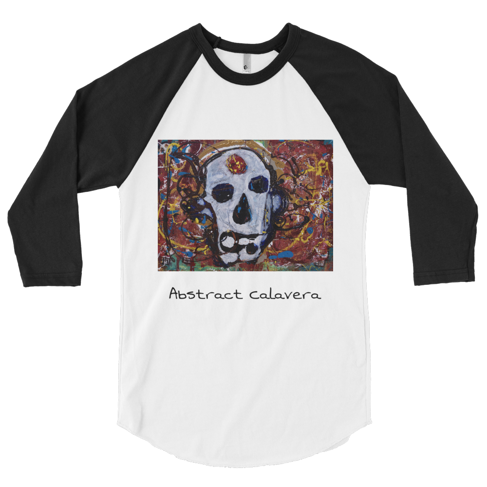"""Abstract Calavera"" 3/4 Sleeve Raglan Shir"
