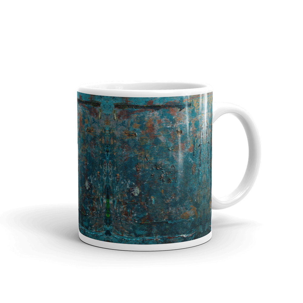 """Fragment of a Rusted Interior Magnified"" Mug"