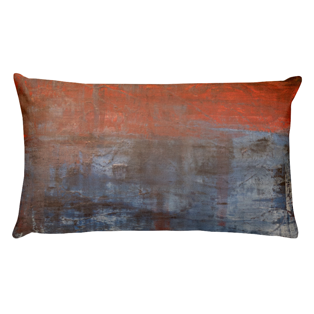 """Electric Silhouette of Bifurcated Interior"" Pillow"